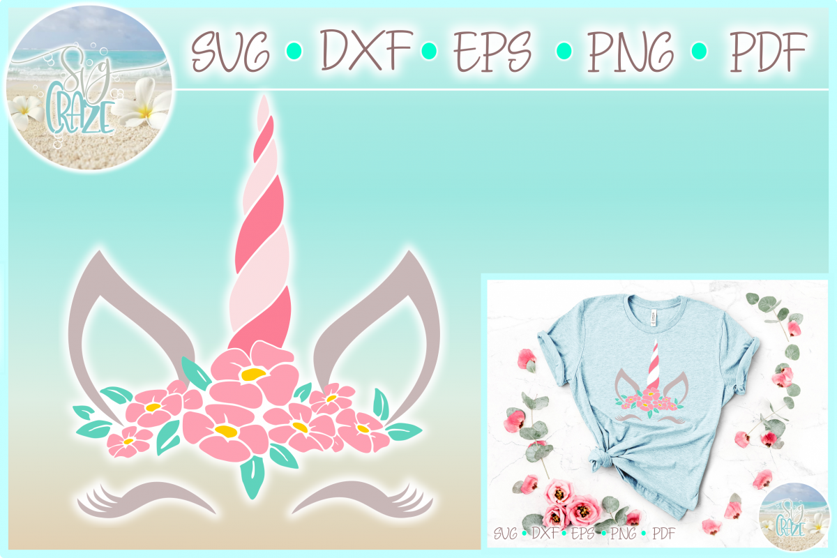 Unicorn Face with Flowers	SVG Dxf Eps Png PDF files example image 1