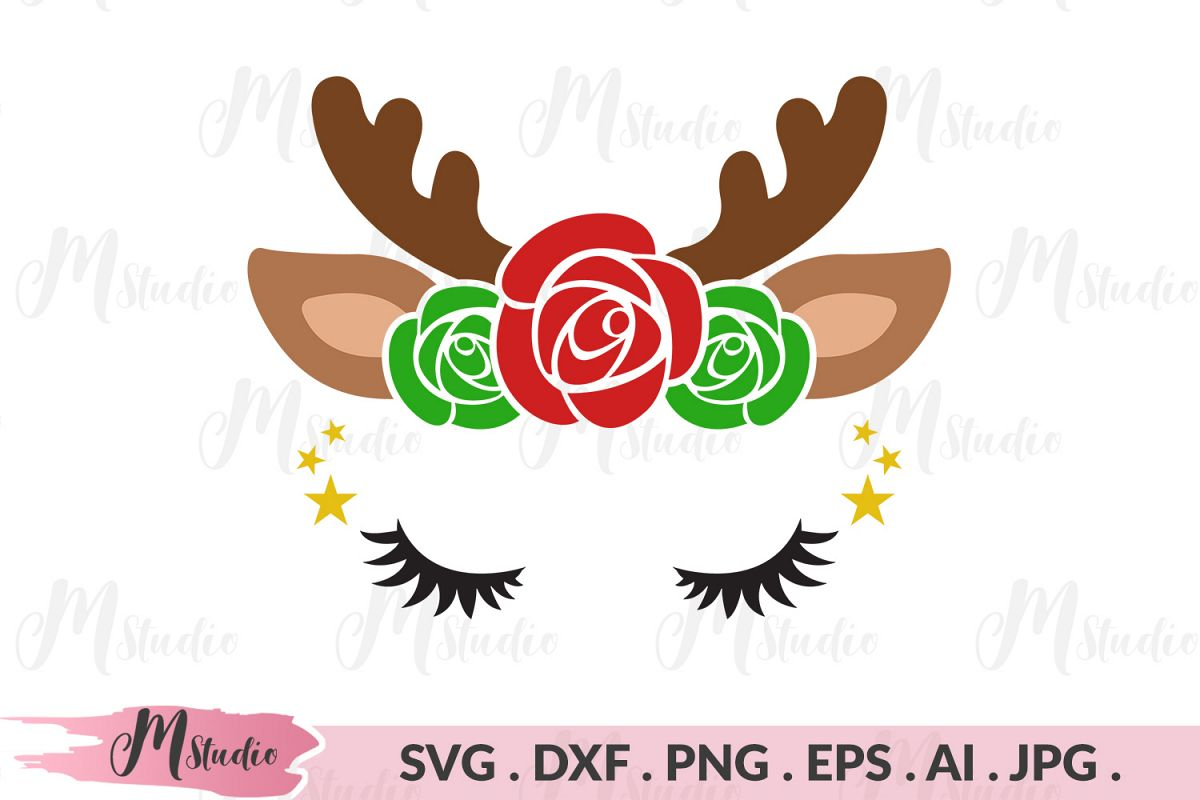 Reindeer flowers svg example image 1