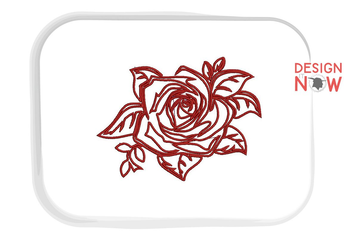 Flower Applique Embroidery Design, Rose Embroidery example image 1