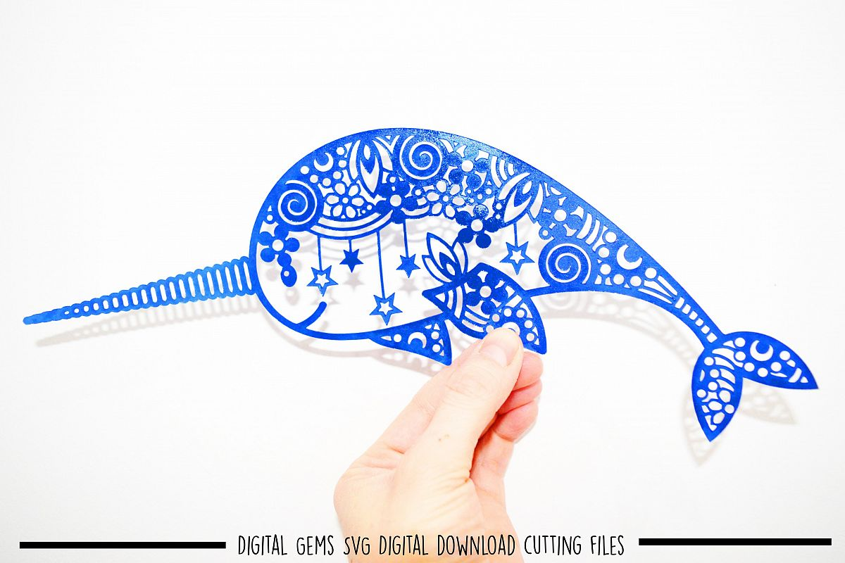 Narwhal paper cut SVG / DXF / EPS files example image 1
