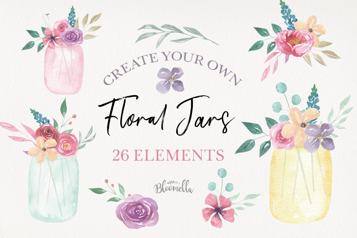 Watercolor Create Your Own - Flower Jars & Bouquets Floral example image 1