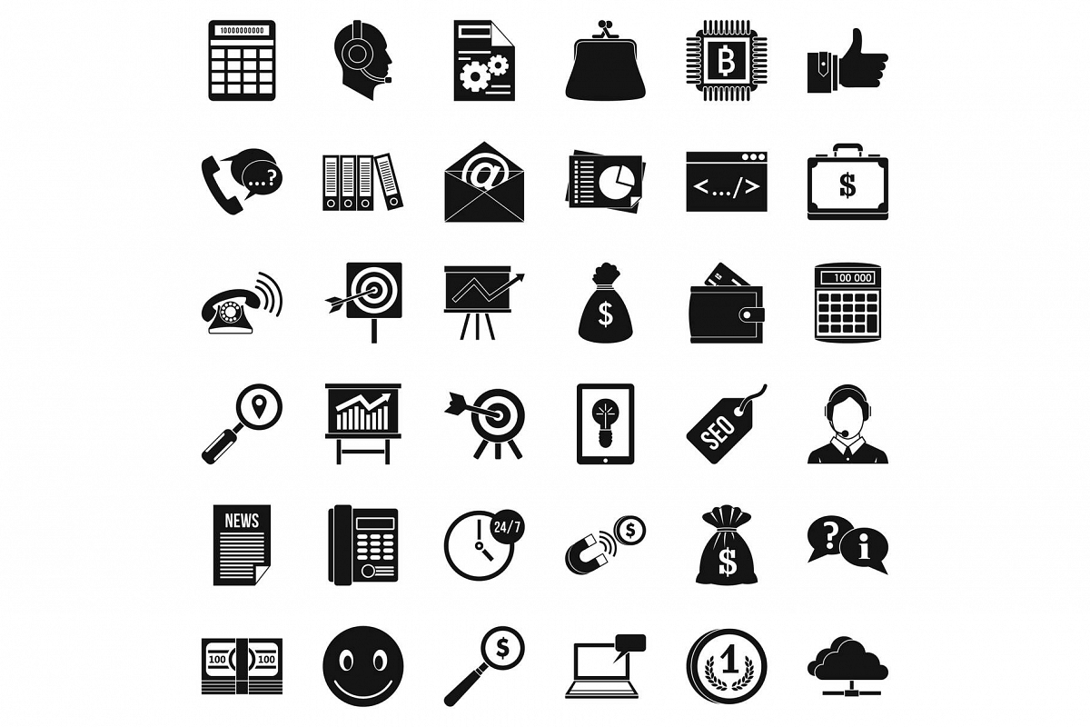 Marketing in internet icons set, simple style example image 1