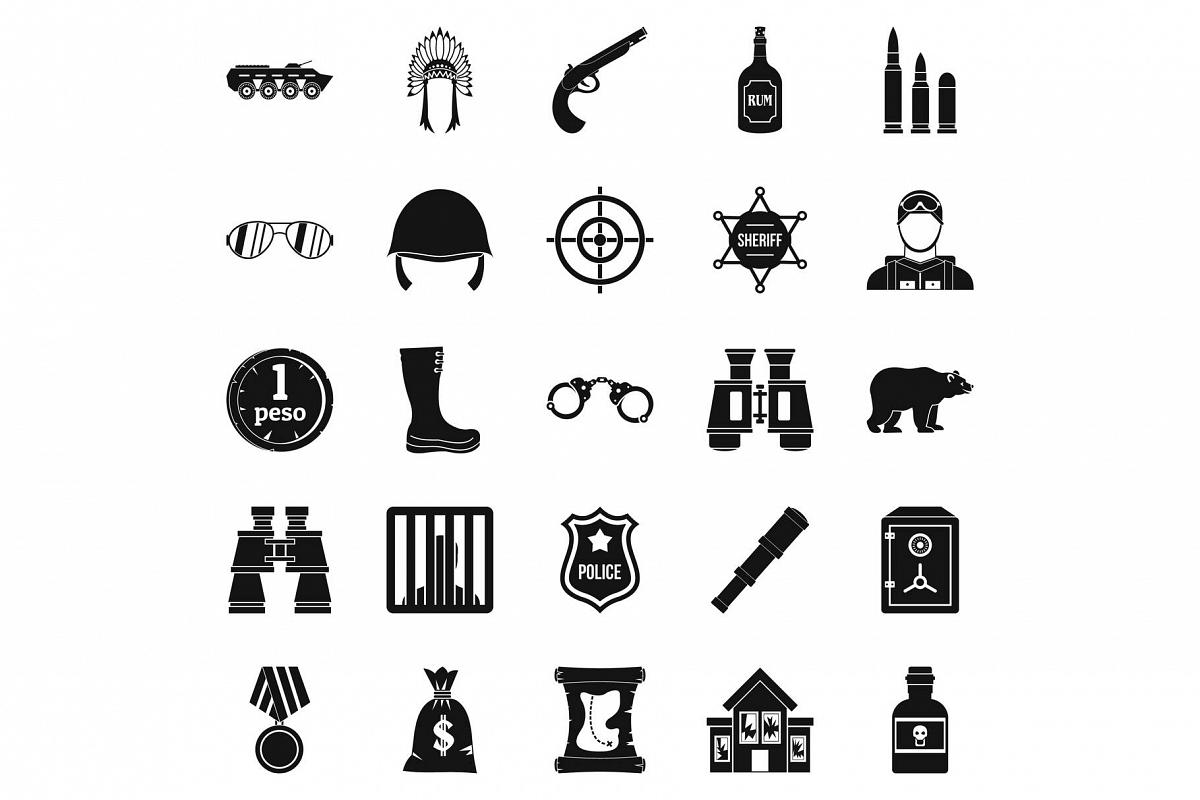 Shot icons set, simple style example image 1