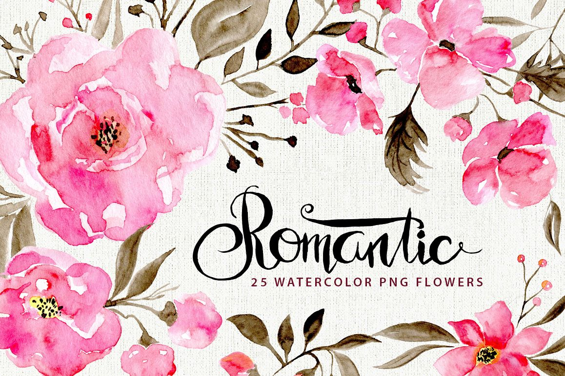 Romantic watercolor flowers example image 1
