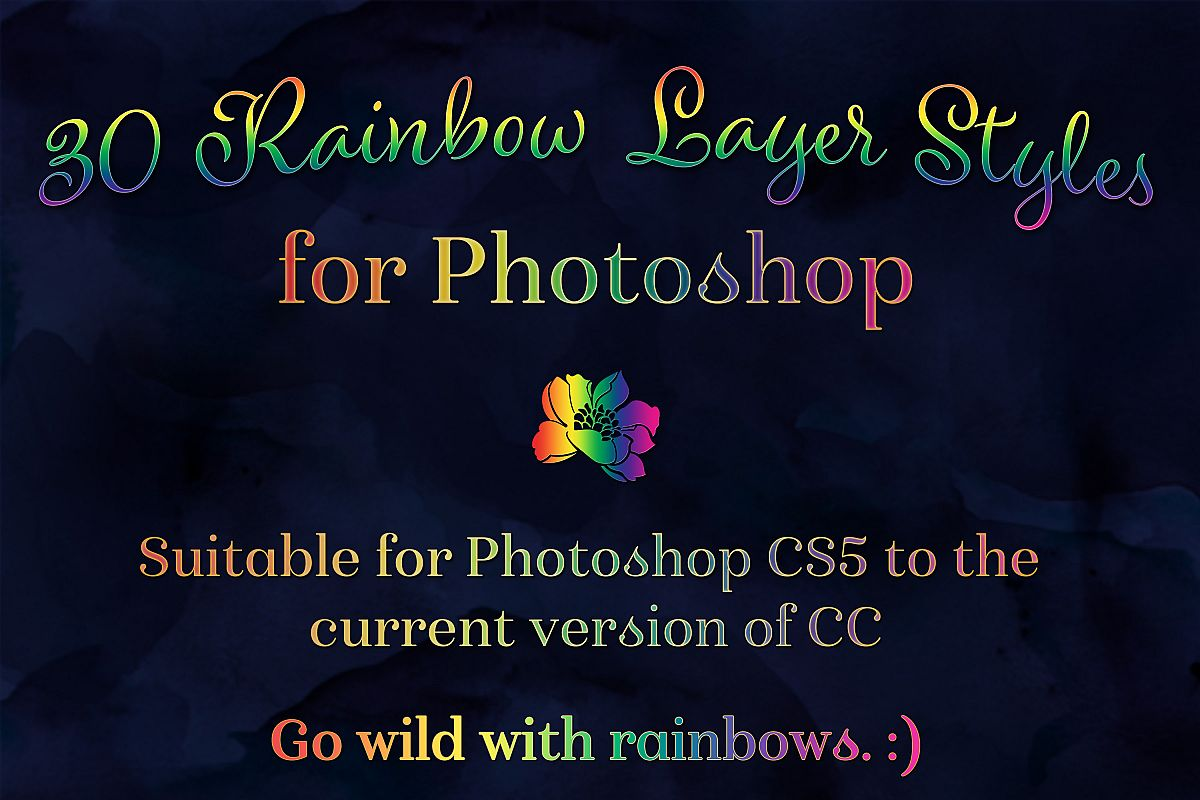 Rainbow Layer Styles - Set of 30 Styles for Photoshop example image 1