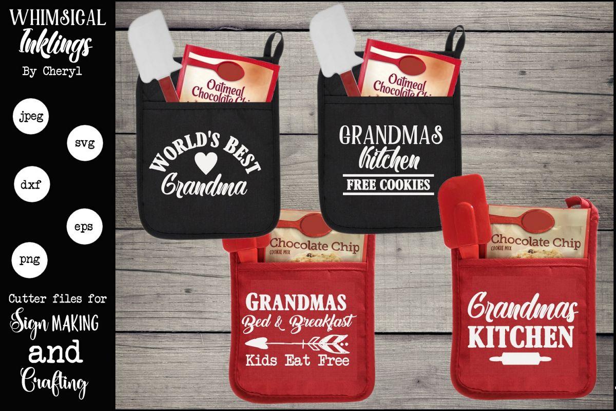 grandmas kitchen pot holders svg set