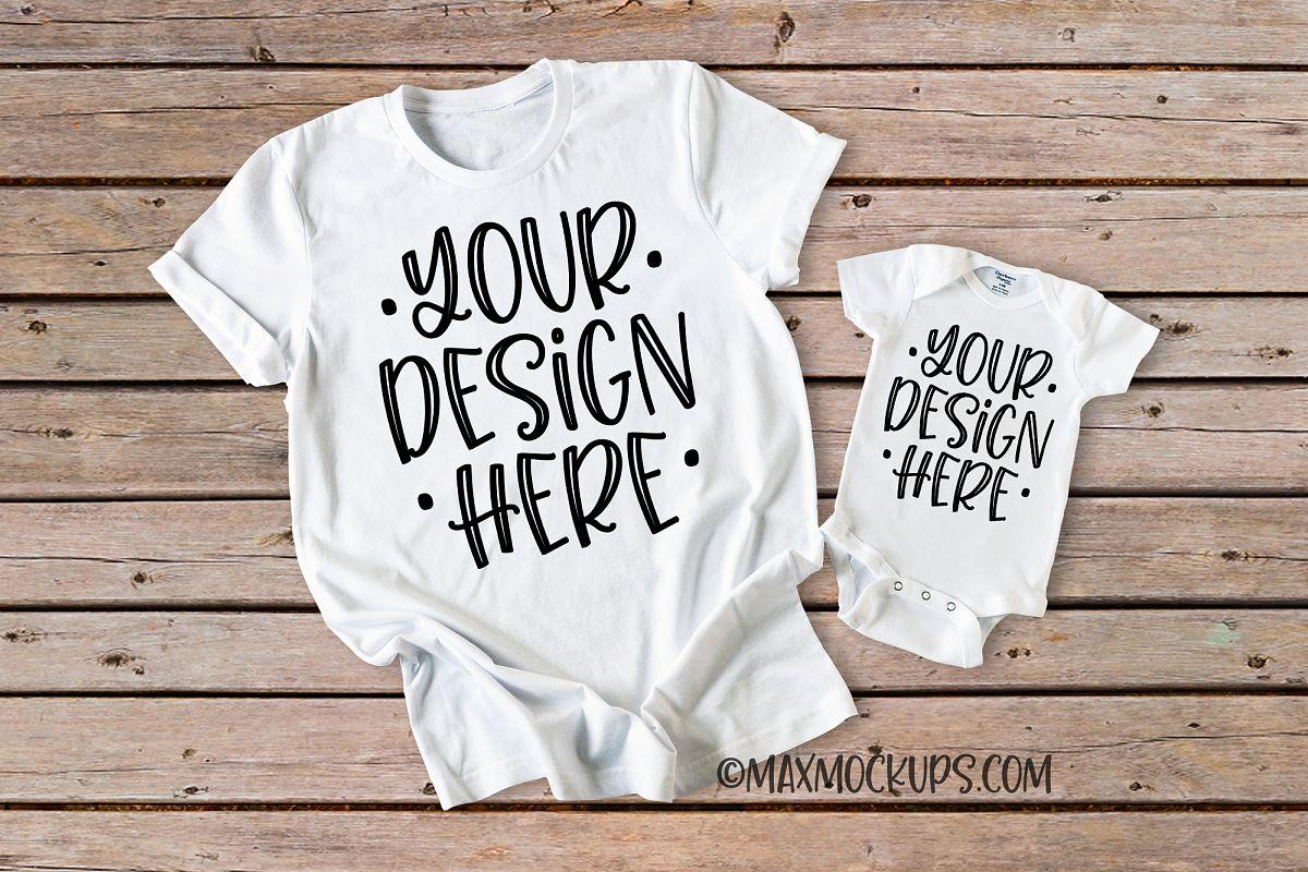 White t-shirt and baby bodysuit Mockup, wood backdrop example image 1