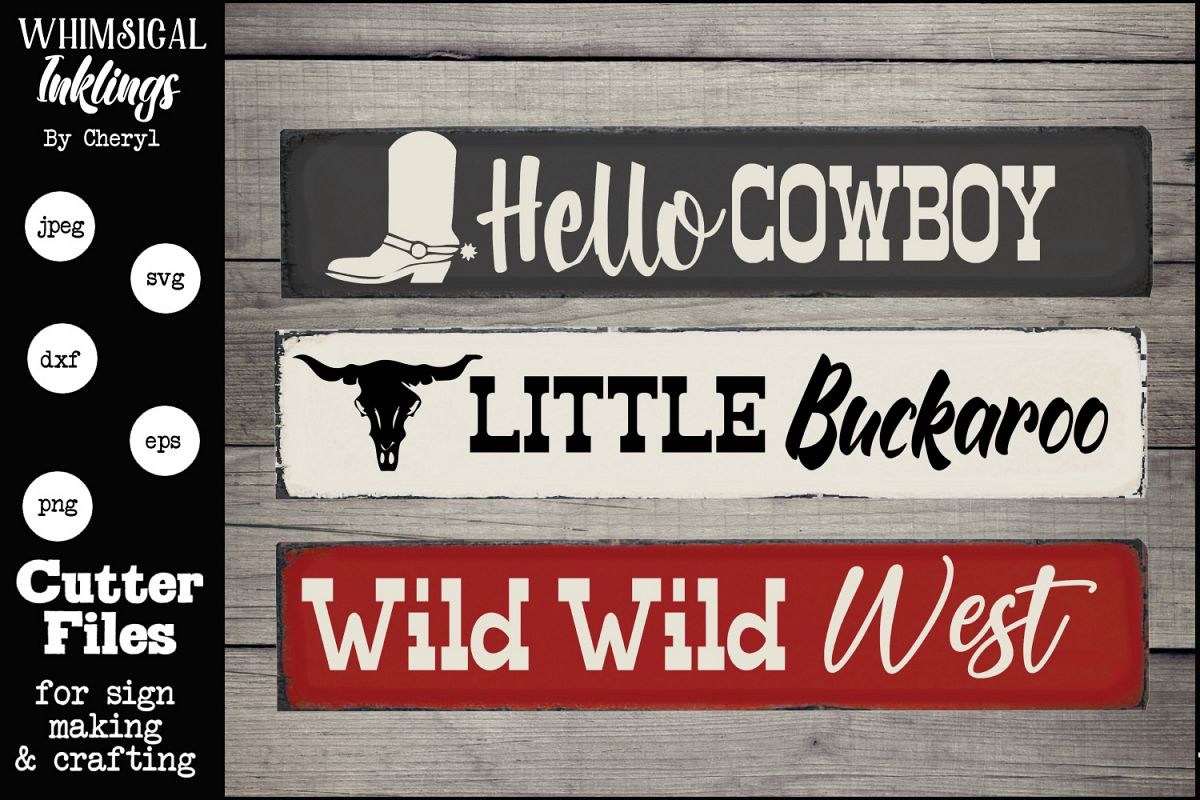 Hello Cowboy SVG Sign Trio example image 1
