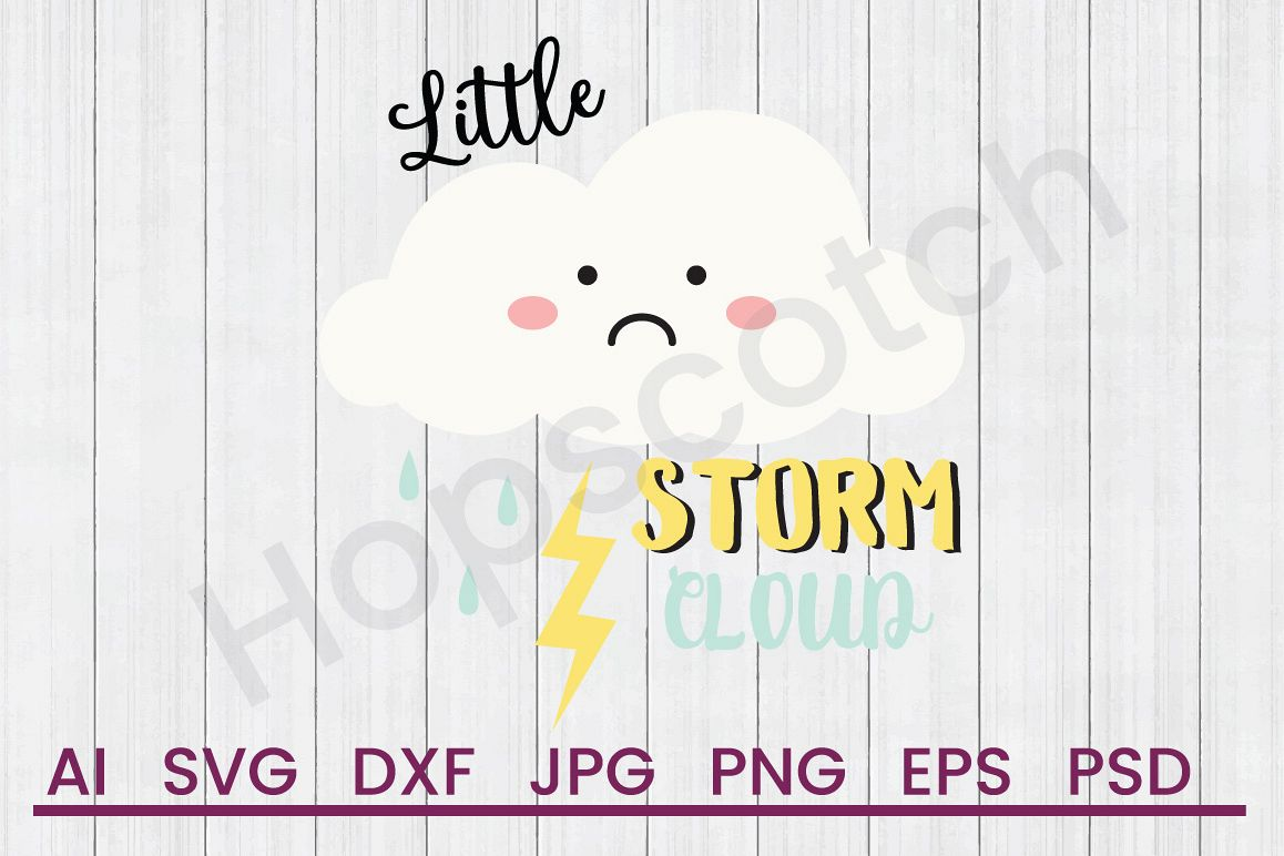 Cloud SVG, Little Storm Cloud SVG, DXF File, Cuttatable File example image 1
