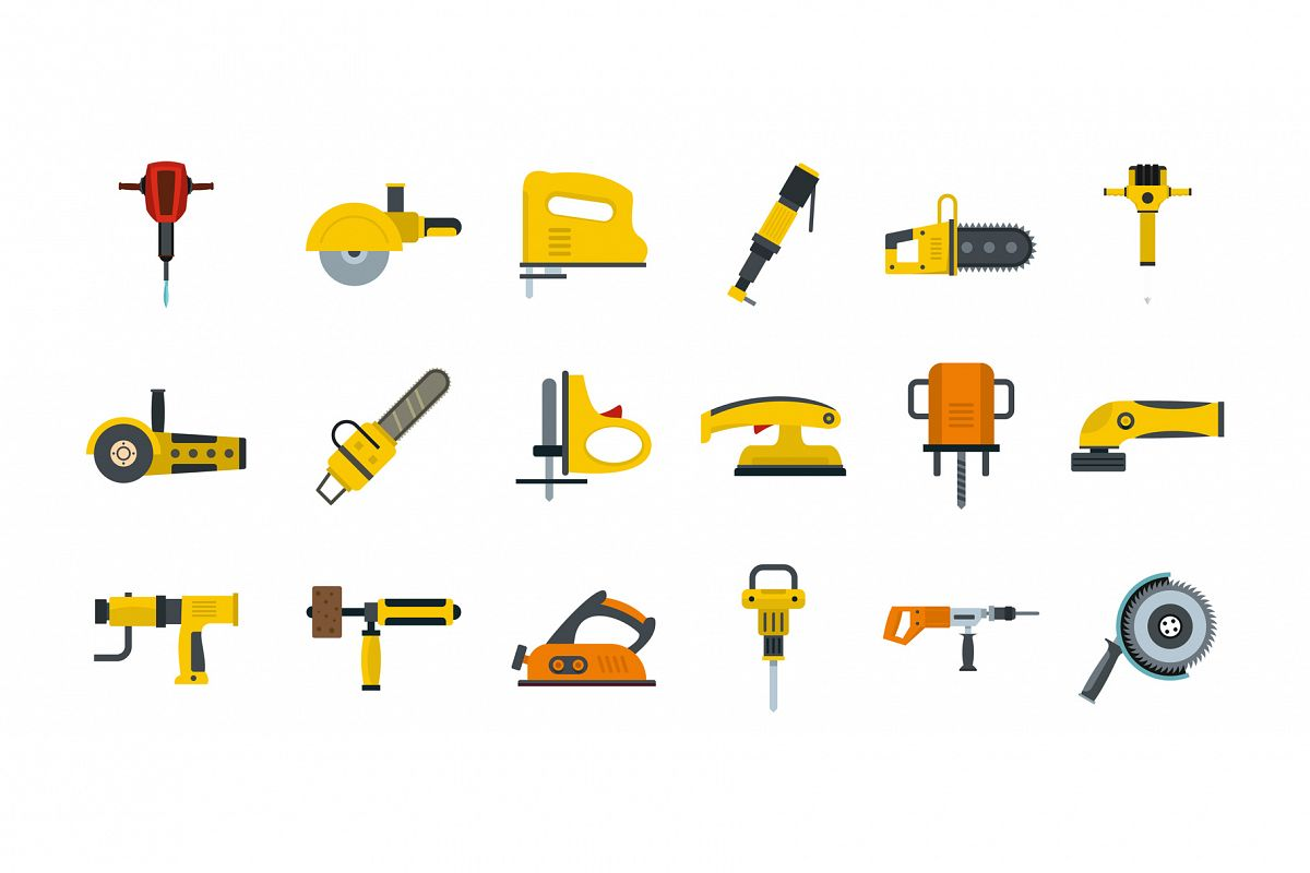Electric tools icon set, flat style example image 1