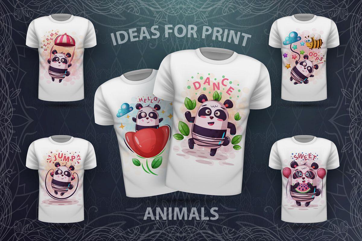 Set cute panda - for print t-shirt example image 1