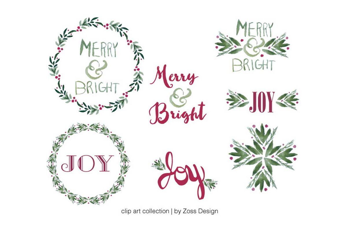 Merry & Bright watercolor clipart example image 1