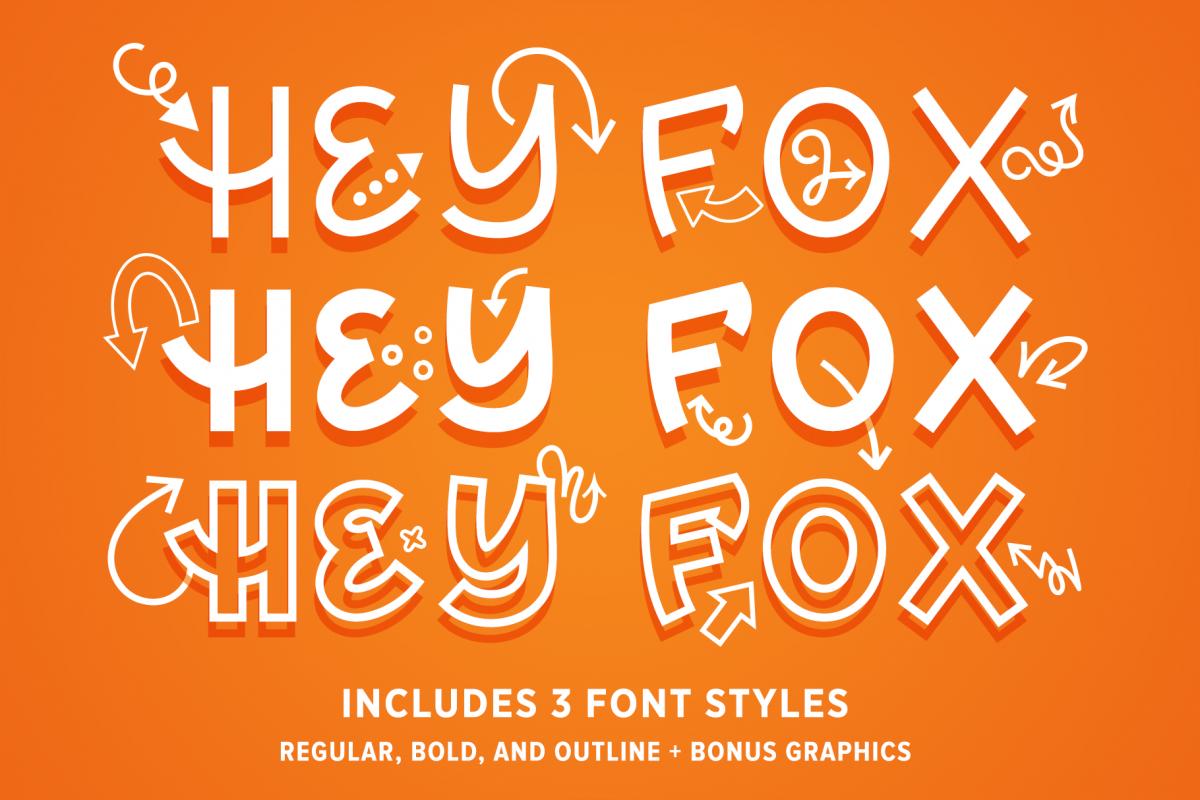 Hey Fox Font Trio example image 1