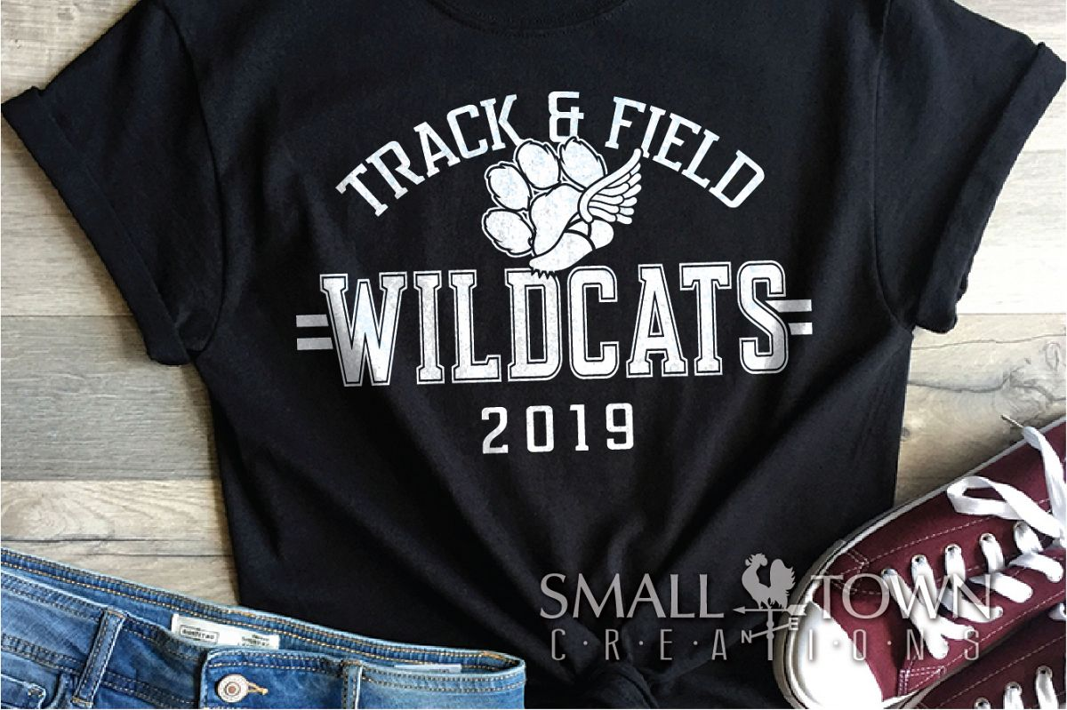 Wildcats Track and Field, Wildcat mascot, PRINT, CUT, DESIGN example image 1