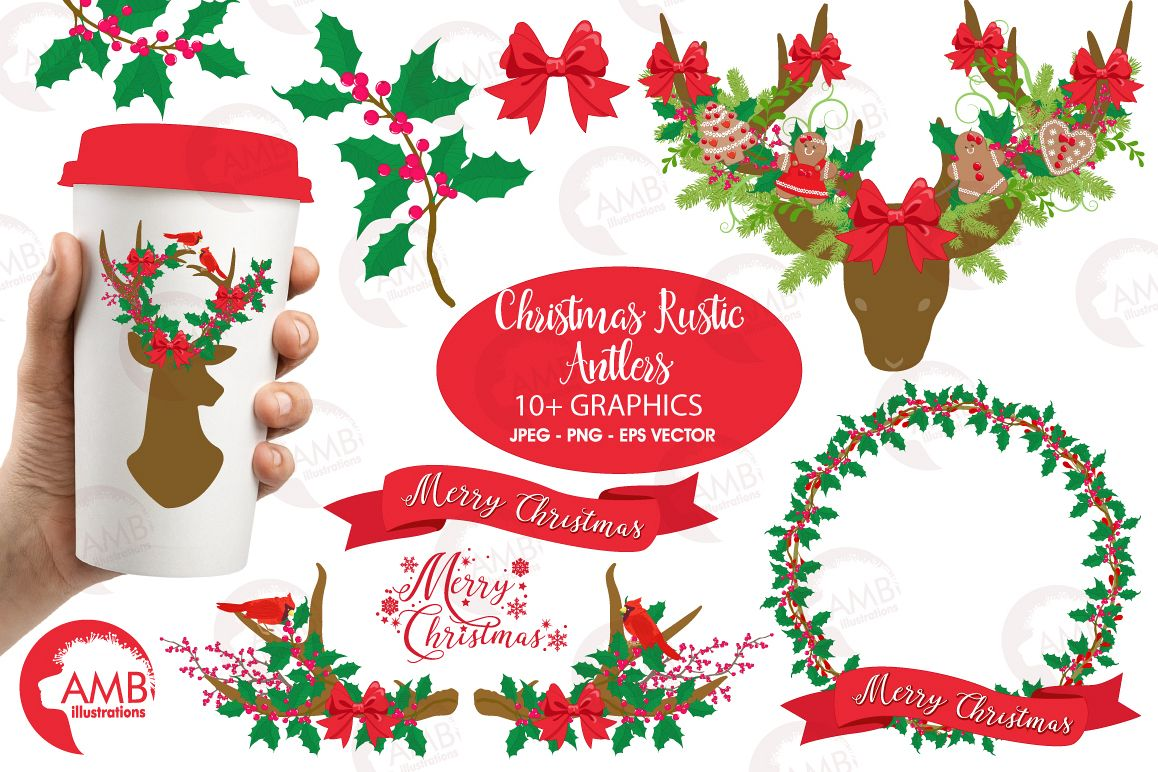 Christmas rustic. Antlers clipart graphics and