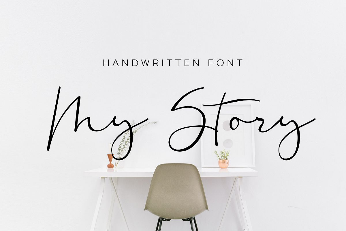 My Story - handwritten calligraphy font example image 1