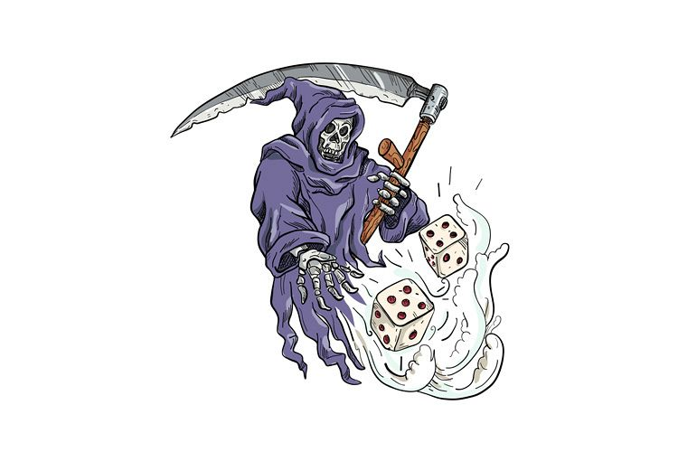 Grim Reaper Throwing the Dice Drawing Color example image 1
