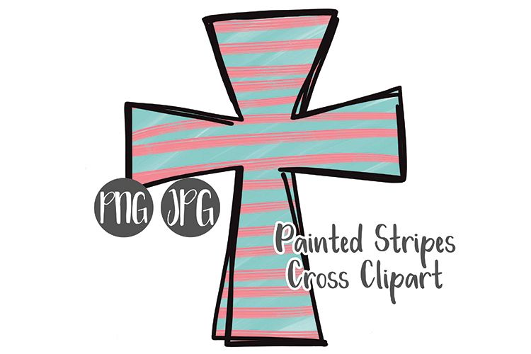 Hand Drawn Easter Cross Clipart - Painted Stripes #3 example image 1