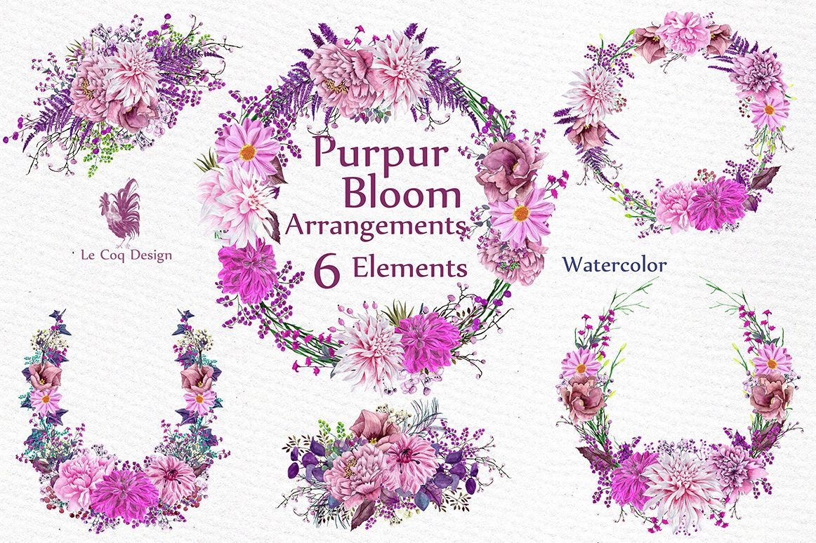 Watercolor Pink Wreaths Clipart example image 1