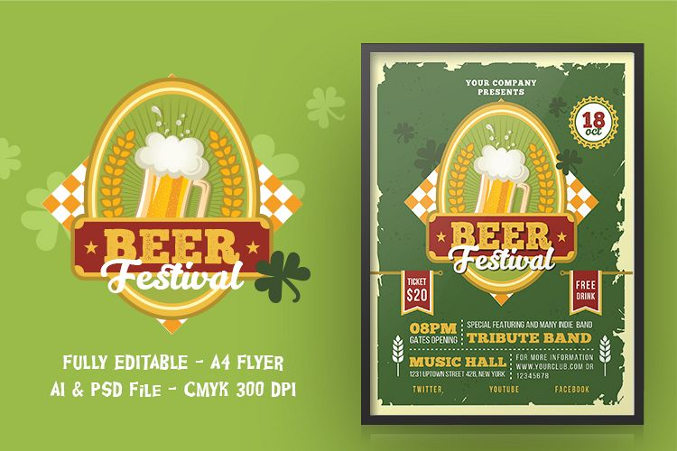 BEER FESTIVAL FLYER OR POSTER example image 1