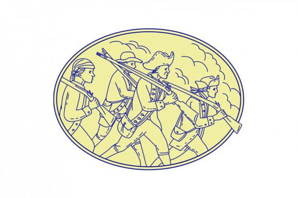 American Revolutionary Soldiers Marching Oval Mono Line example image 1