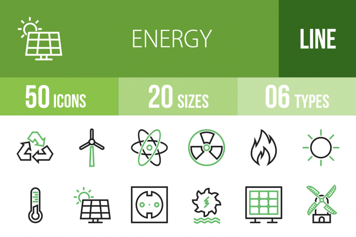 50 Energy Line Green & Black Icons example image 1