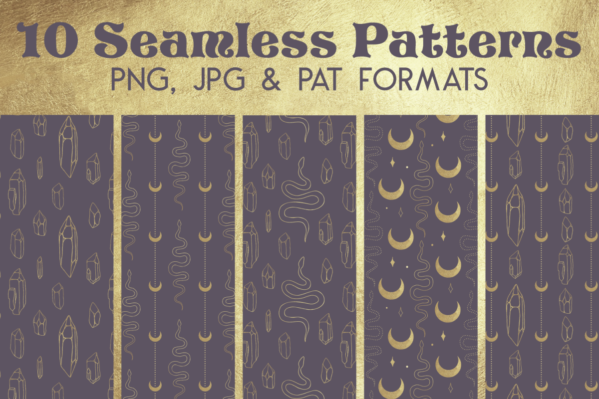 Gold Purple Snake Crystal Paper - Seamless Photoshop Pattern example image 1