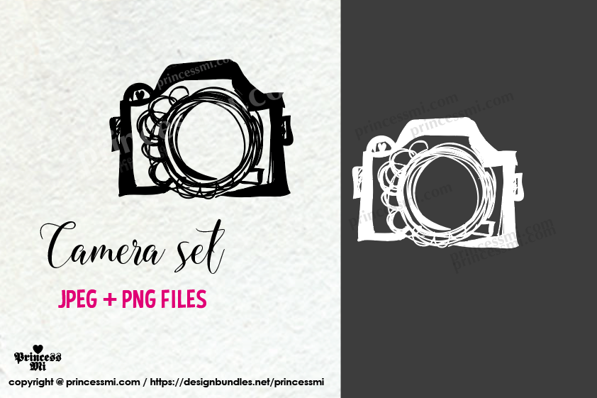 doodle camera clipart set 1 , black and white verion example image 1