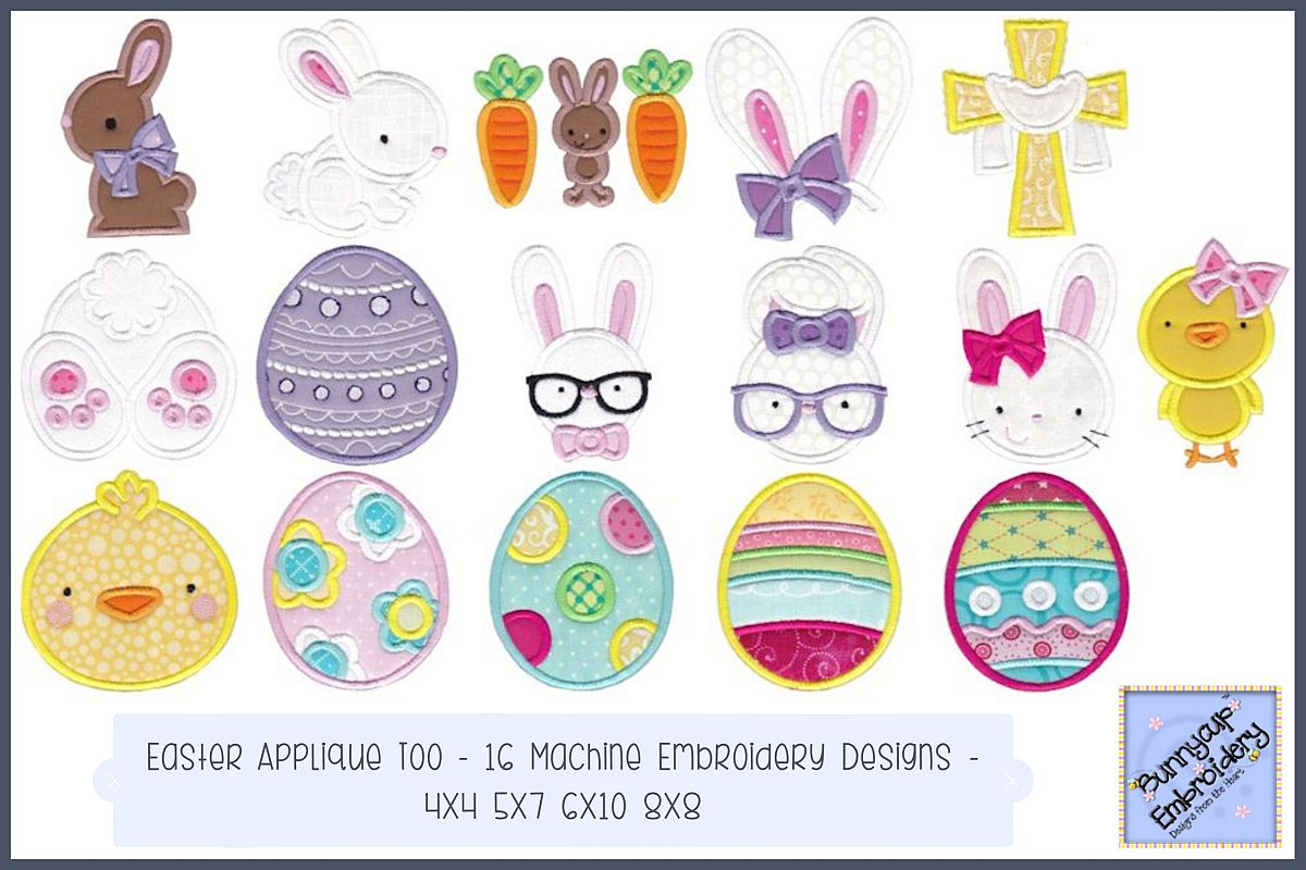 Easter Applique Too - 16 Machine Embroidery Designs example image 1