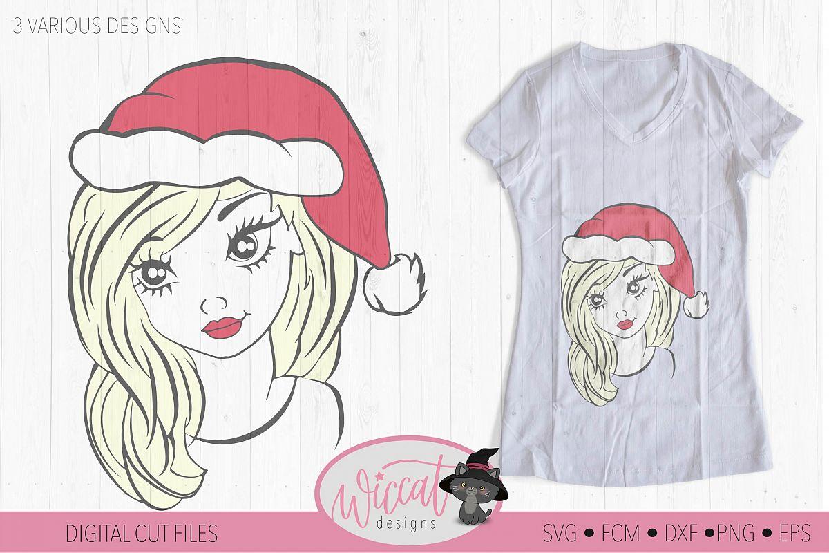 Christmas girl svg, teen svg, Christmas hat svg, example image 1