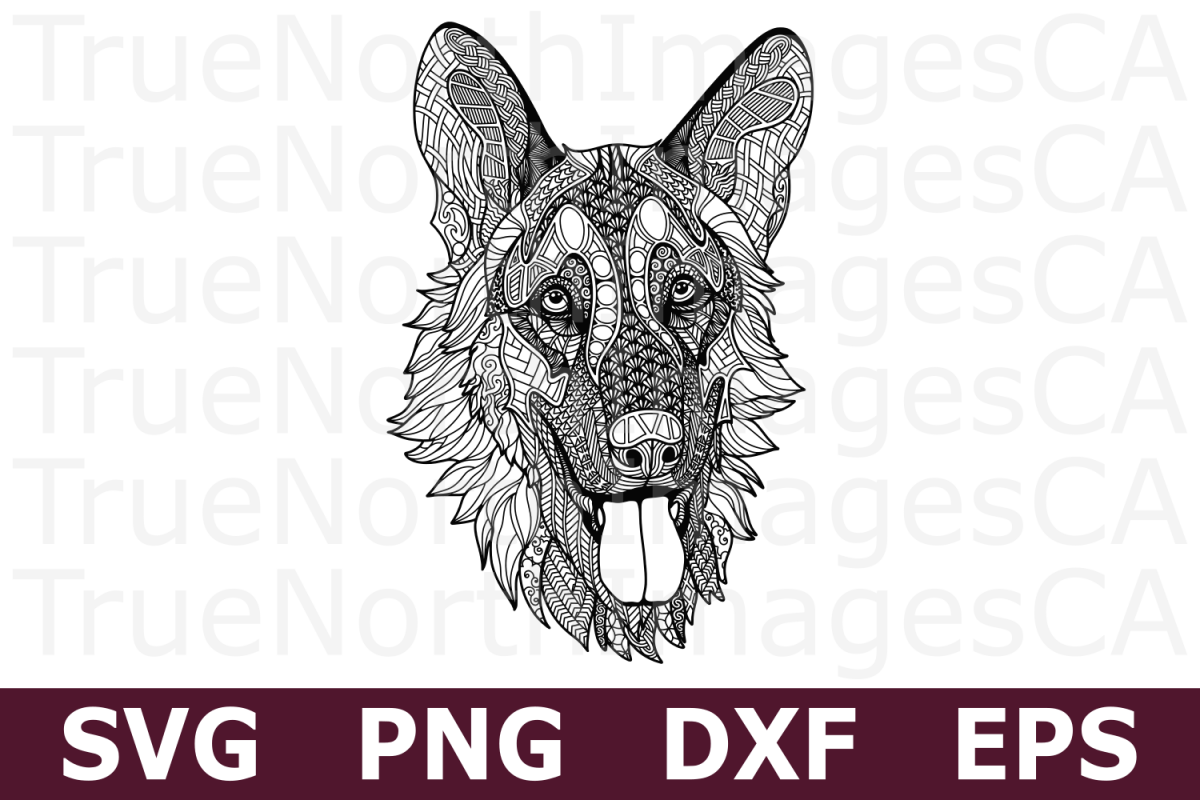 German Shepherd - A Zentangle SVG Cut File example image 1