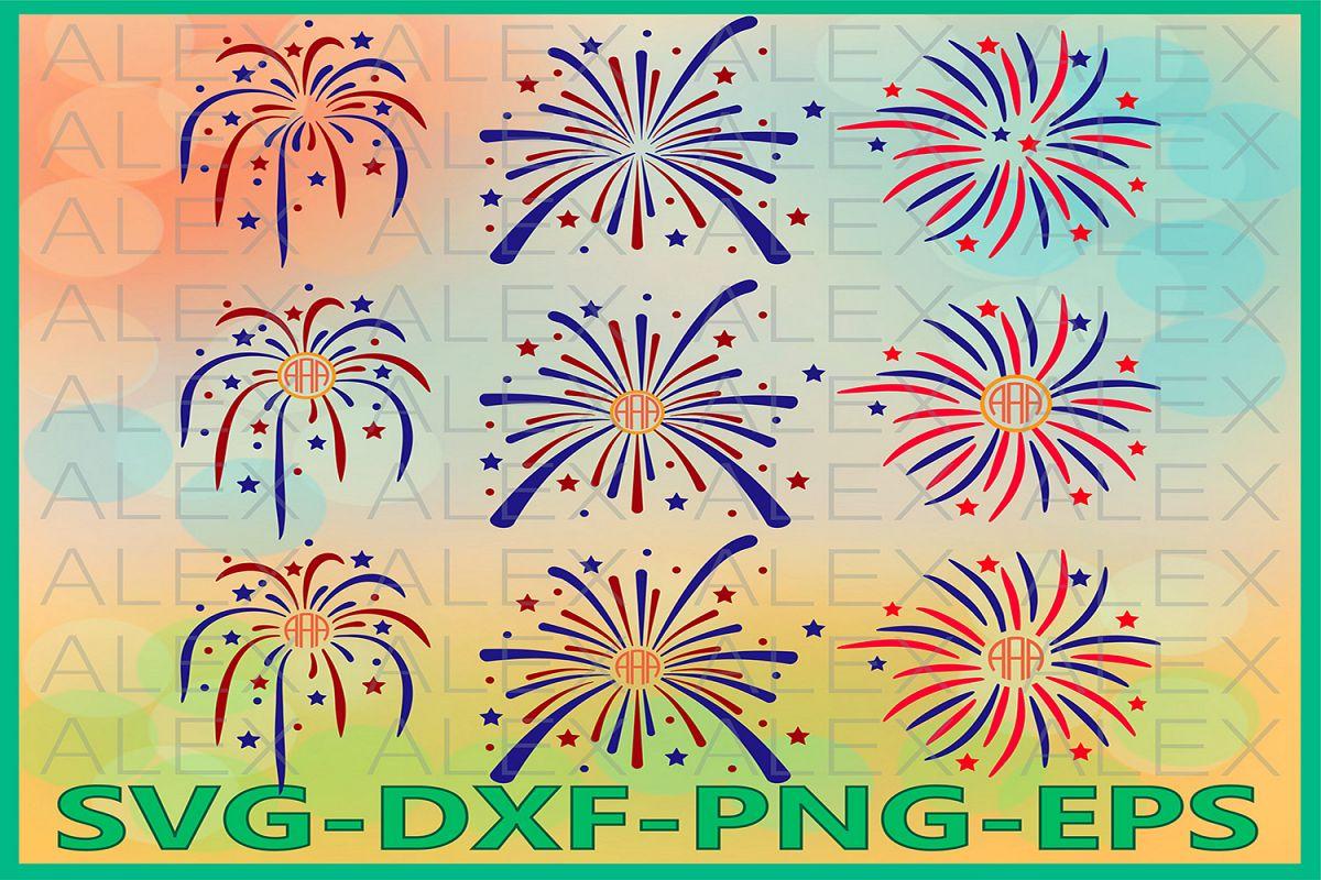 FireWorks Svg, 4th of July Svg, FireWorks Monogram Svg example image 1