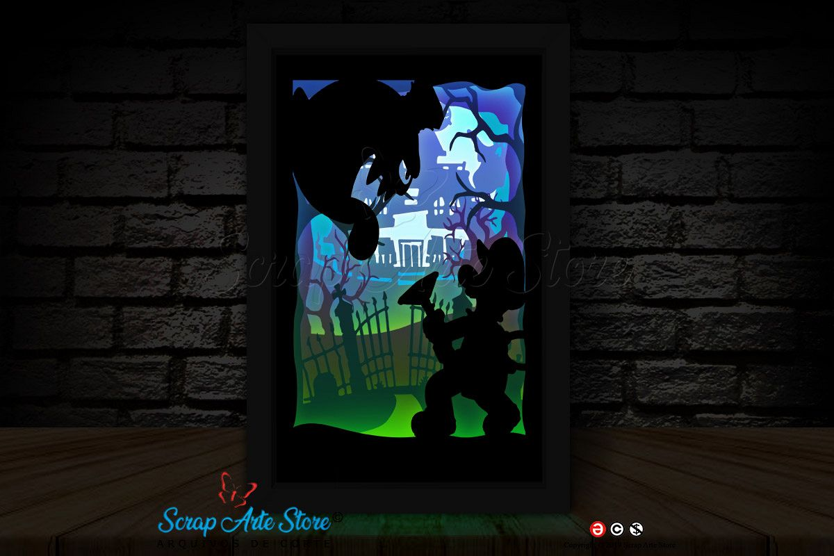Template papercut Shadowbox Luigi mansion example image 1
