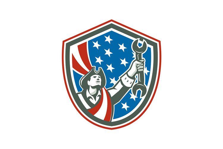 American Patriot Mechanic Holding Spanner Shield Retro example image 1