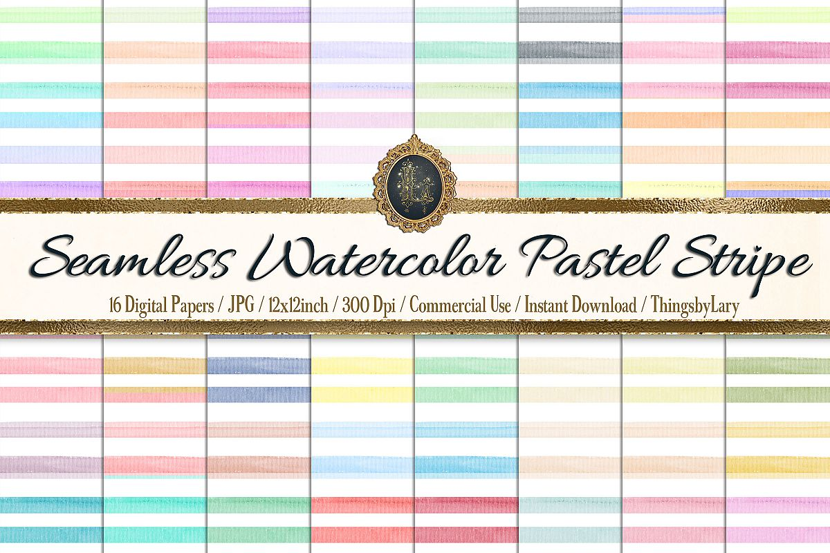 16 Seamless Watercolor Pastel Rainbow Ombre Stripes Papers example image 1