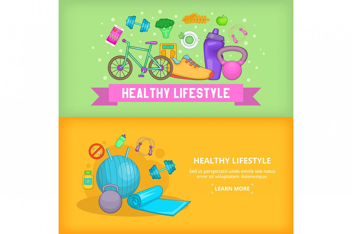 Fitness banner set template, cartoon style example image 1