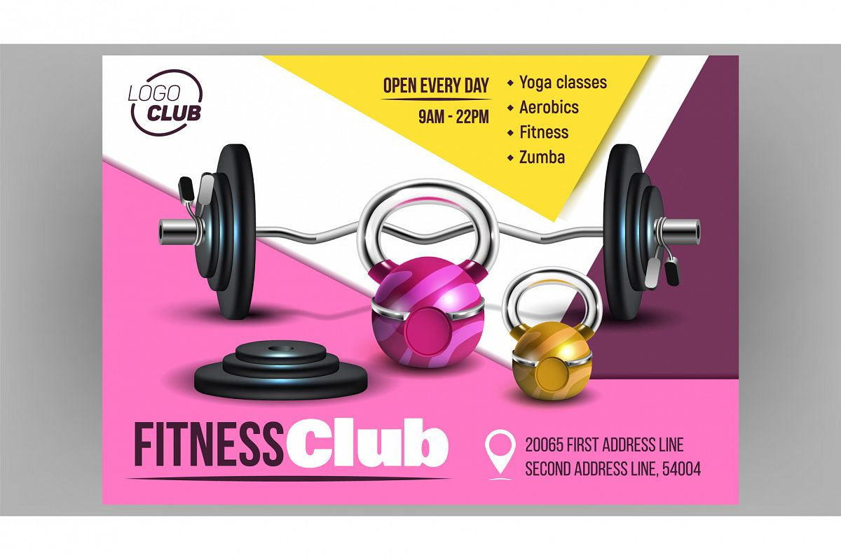 Fitness Club Creative Advertising Banner Vector 573501 Illustrations Design Bundles