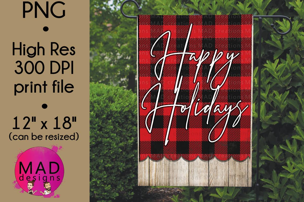 Happy Holidays - Buffalo Plaid - Garden Flag PNG example image 1