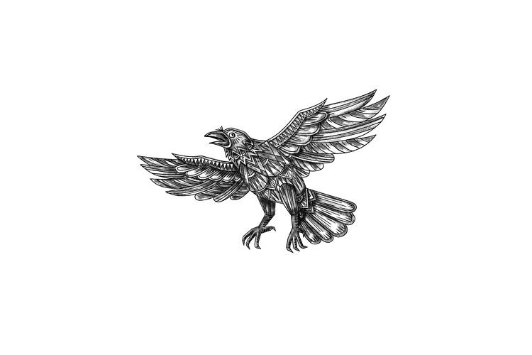 Raven Flying Up Geometric Mandala Tattoo example image 1