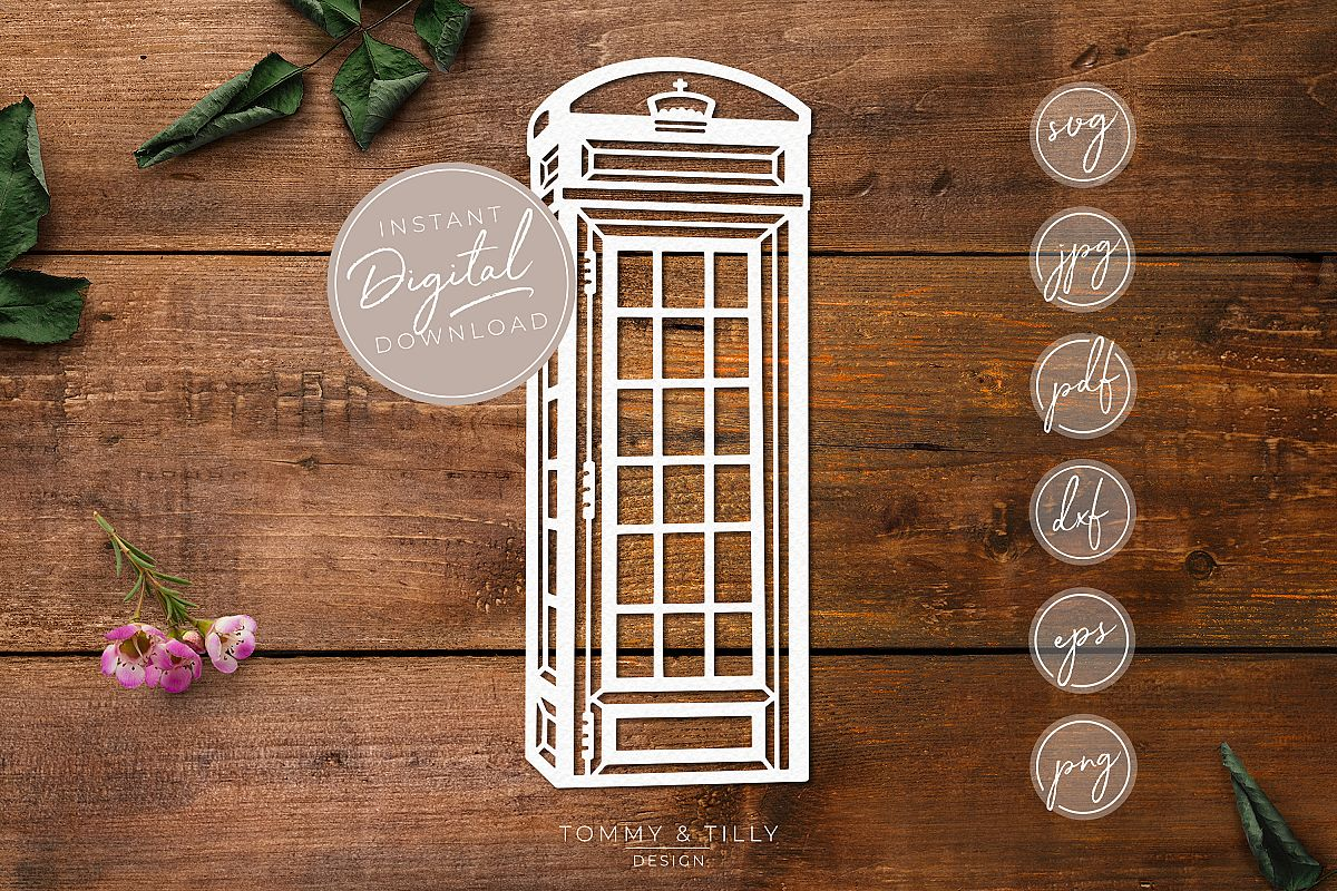 Telephone Box - SVG EPS DXF PNG PDF JPG Cut File example image 1