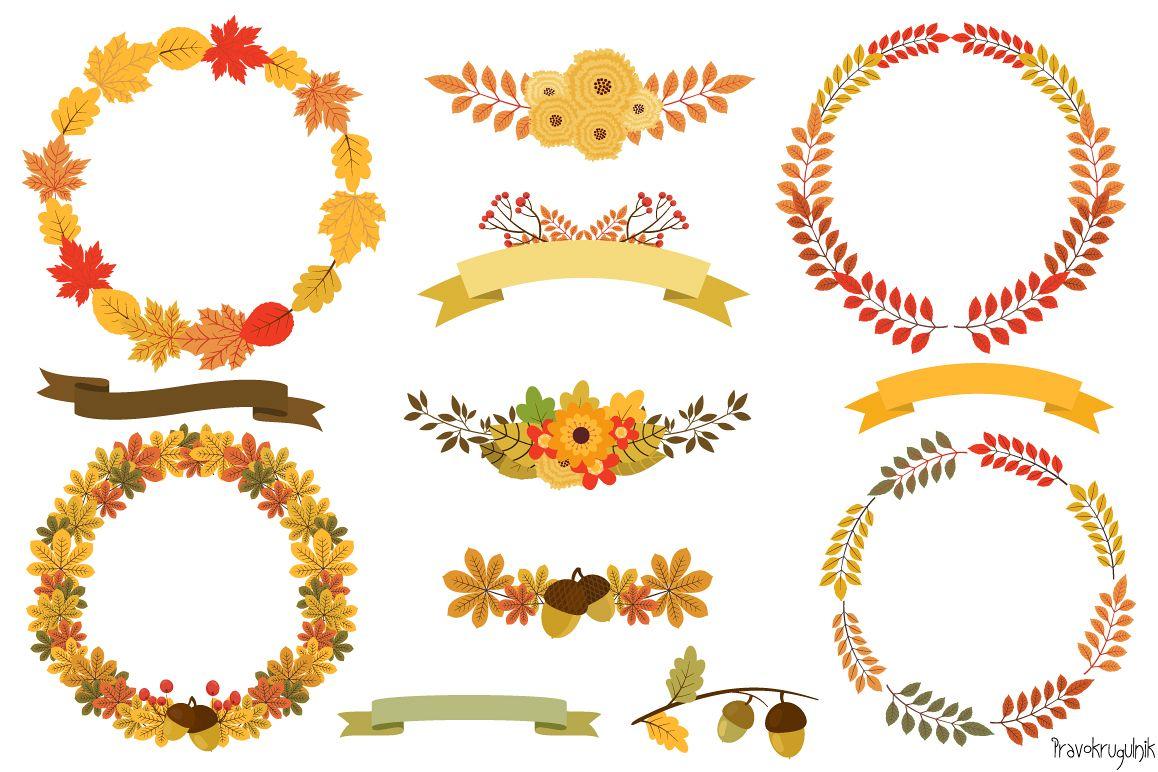 Autumn Wreaths Clipart, Fall Wreath Set example image 1