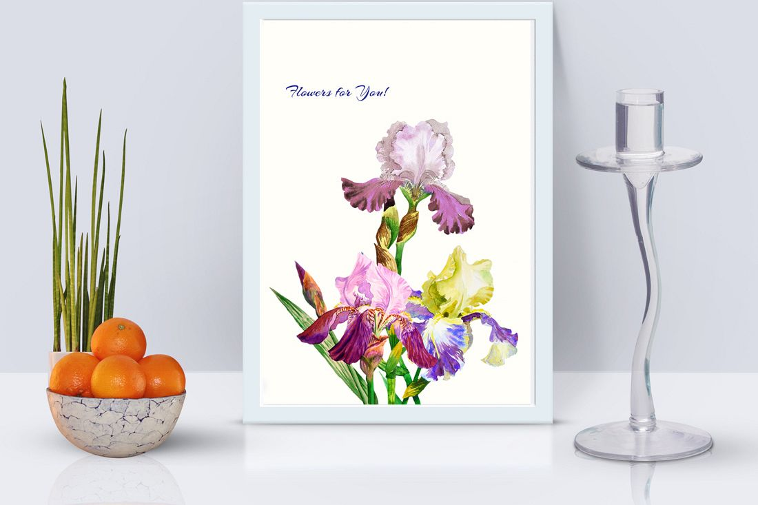 Bouquet with three irises example image 1