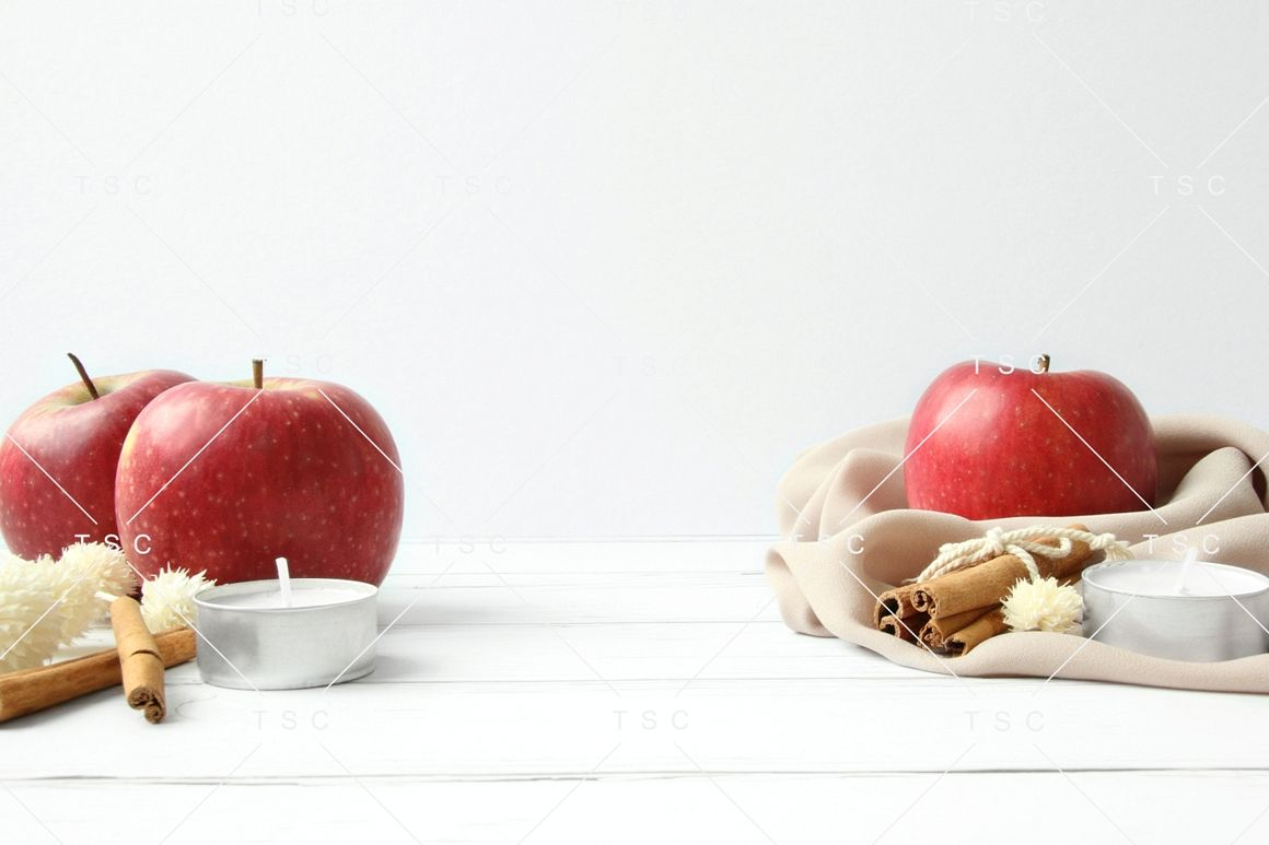 Fall Styled Stock Photo / Apple / Cinnamon / White Wood example image 1