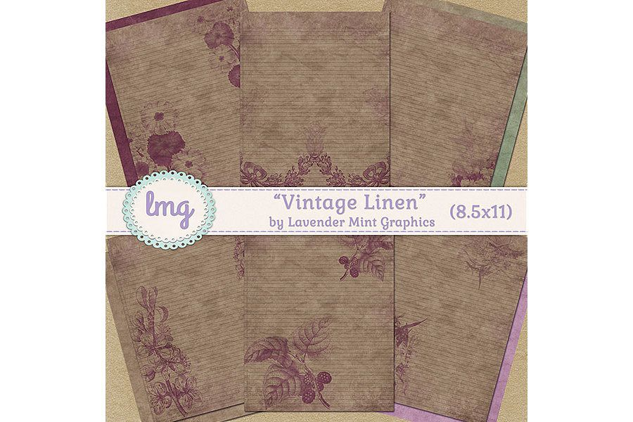 Vintage Linen Journal Papers example image