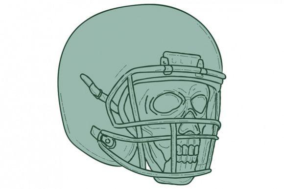Football Quarterback Skull Drawing example image 1