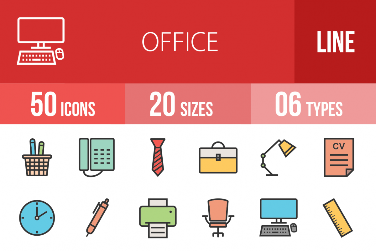 50 Office Linear Multicolor Icons example image 1