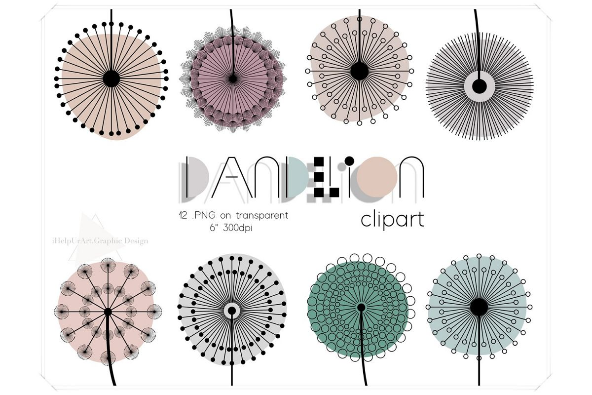 Dandelion Clipart - Floral Design - Modern Abstract Flowers example image 1