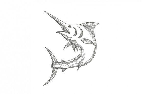 Atlantic Blue Marlin Doodle example image 1