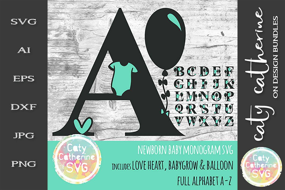 Full Alphabet A-Z Newborn Baby Monogram SVG Cut file example image 1