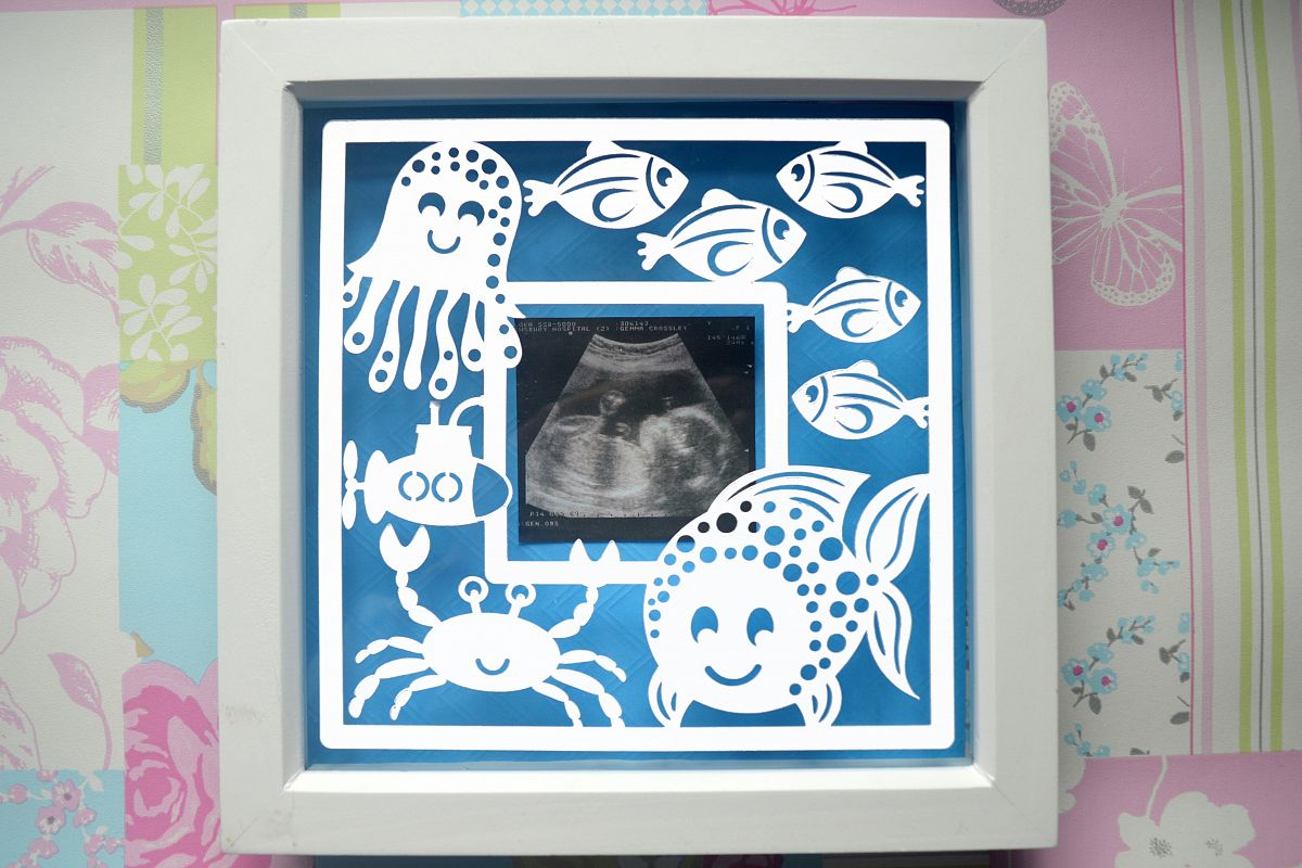 Fish frame paper cut SVG / DXF / EPS Files example image 1